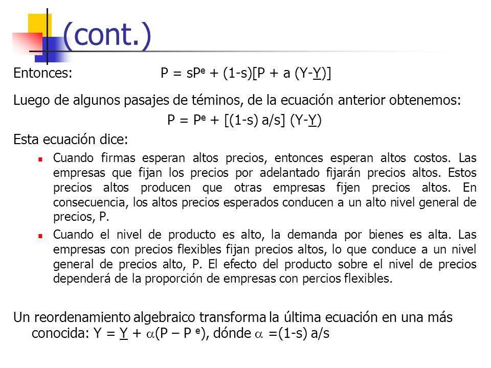 (cont.) Entonces: P = sPe + (1-s)[P + a (Y-Y)]